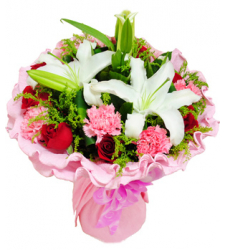 roses with carnation and lily in bouquet to cebu