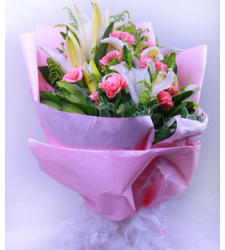 10 Pink Carnations & 1 White Perfume lily Online Order to Cebu Philippines