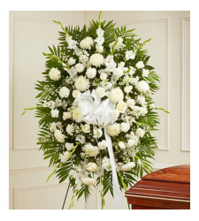 All White Funeral Standing Spray Online Order to Cebu Philippines