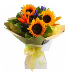 Colorful Sunflower 3 Stems Bouquet Online Order to Cebu Philippines,Flowers to Cebu Philippines
