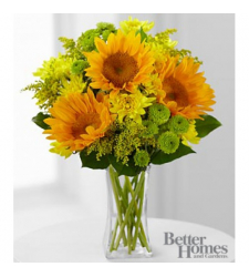 3 stems of Sunflowers,Chrysanthemums and Solidago