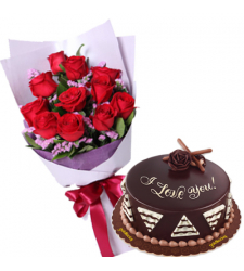 12 Red Rose Bouquet with Chocolete Cake