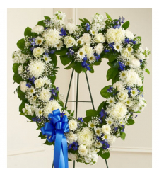 Send Blue and White Heart Wreath To Cebu