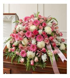 Send Pink and White Sympathy Casket Spray To Cebu