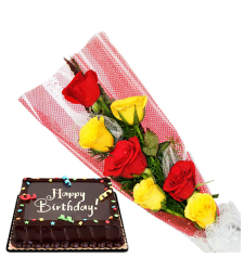 6 red and yellow roses with red ribbon chocolate cake to cebu