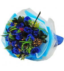 12 blue rose hand tied bouquet