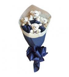send 4 pcs. mini white color bear bouquet to cebu