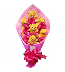 send 7 mini teddy bear in bouquet to cebu