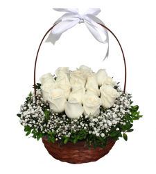 send 2 dozen of white color roses in basket to cebu