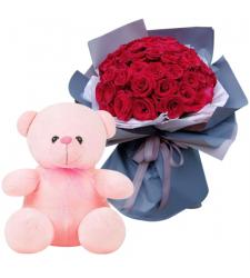 send 24 red rose with teddy bear to cebu