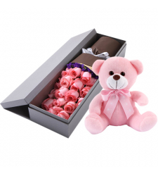 send 24 pink roses in box with bear to cebu philippines