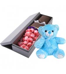 send 24 pink roses with blue teddy bear to cebu