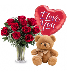 send 12 red roses with balloon and teddy bear to cebu
