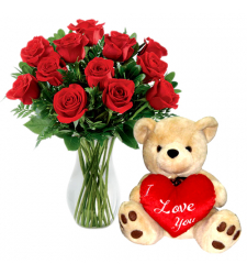 send 12 red roses vase with bear to  cebu