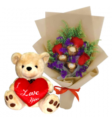 send roses with chocolate in bouquet and bear to cebu