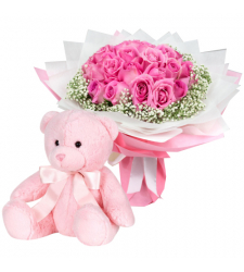 send 2 dozen pink roses with teddy bear to cebu