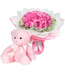 send 2 dozen pink roses with teddy bear to cebu