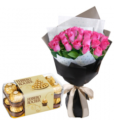 send 24 pink roses with ferrero chocolate box to cebu