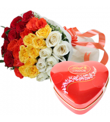send 36 mixed roses with lindt chocolate box to cebu
