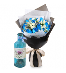 send 24 blue and white roses with bottle message to cebu