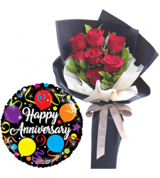 7 Pcs. Red Roses Bouquet with Anniversary Balloon