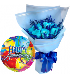 12 Blue Roses Bouquet with Anniversary Balloon
