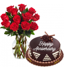 12 Red Rose in a Vase with Anniversary Cake