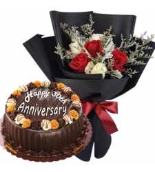 6 Mixed Roses Bouquet with Anniversary Cake