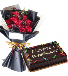 12 Red Rose in Bouquet with Anniversary Cake