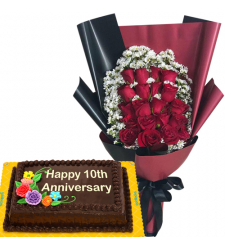 20 Pcs. Red Roses Bouquet with Anniversary Cake