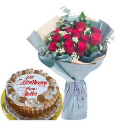 12 Red Roses with Anniversary Cake