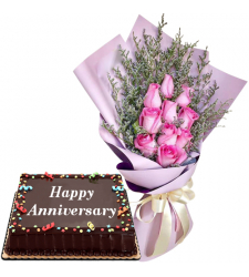 11 Pink Roses Bouquet with Anniversary Cake