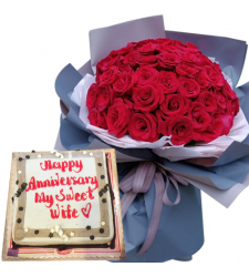 36 Red Roses Bouquet with Mocha Anniversary Cake