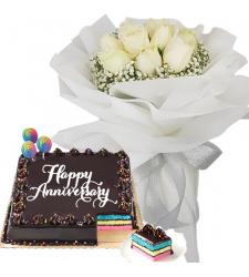 8 Pcs. White Roses with Anniversary Cake