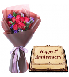 12 Red Roses Bouquet with Anniversary Cake