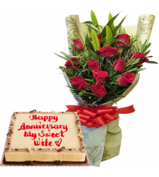 12 Red Rose Bouquet with Dedication Cake