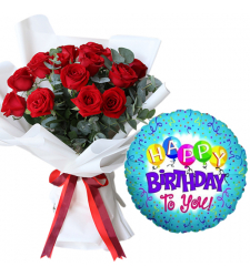 12 Red Roses Bouquet with Birthday Mylar Balloon