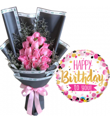 15 pcs Pink Roses Bouquet with Birthday Balloon