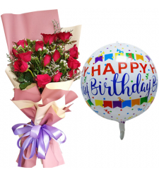 12 pcs Red Roses Bouquet with Birthday Mylar Balloon