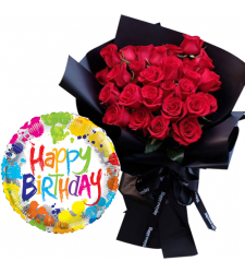 24 Pieces Roses Bouquet with Birthday Mylar Balloon