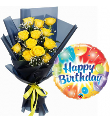 12 Yellow Roses Bouquet with Birthday Mylar Balloon