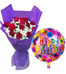 12 Red Roses In Bouquet with Birthday Mylar Balloon