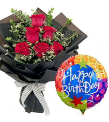 6 Red Roses Bouquet with Birthday Mylar Balloon