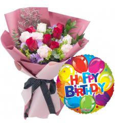 12 Pcs. Mixed Roses with Birthday Mylar Balloon