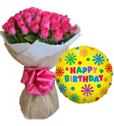 24 Pcs Pink Roses Bouquet with Birthday Balloon