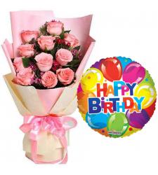 12 Pcs. Pink Roses with Birthday Mylar Balloon
