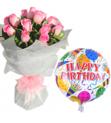 12 Pink Roses Bouquet With Birthday Mylar Balloon