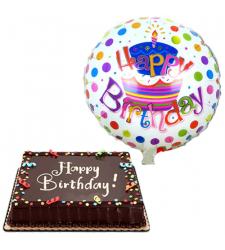 birthday balloon with chocolate dedication cake to cebu