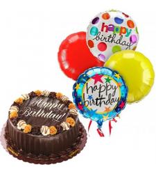 Choco Caramel Decadence Cake with Birthday Balloon