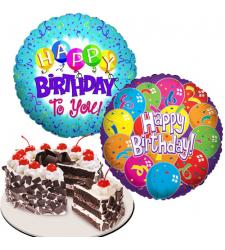 Black Forest Cake with 2 pcs. Birthday Mylar Balloon